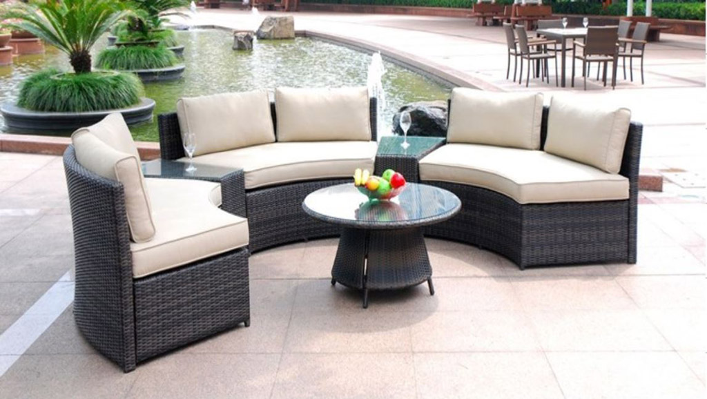 Curved 6 Seat Outdoor Wicker Pe Rattan Sofa Lounger Patio Furniture Set Table Ebay
