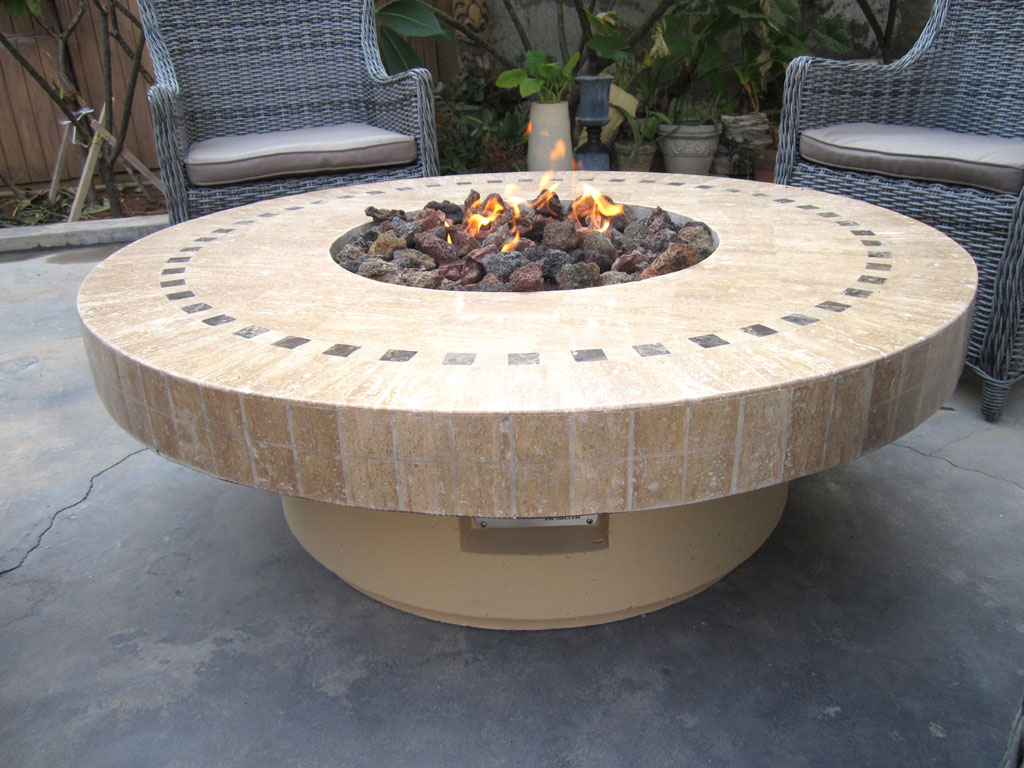 new backyard outdoor gas propane fire pit w marble mosaic top patio