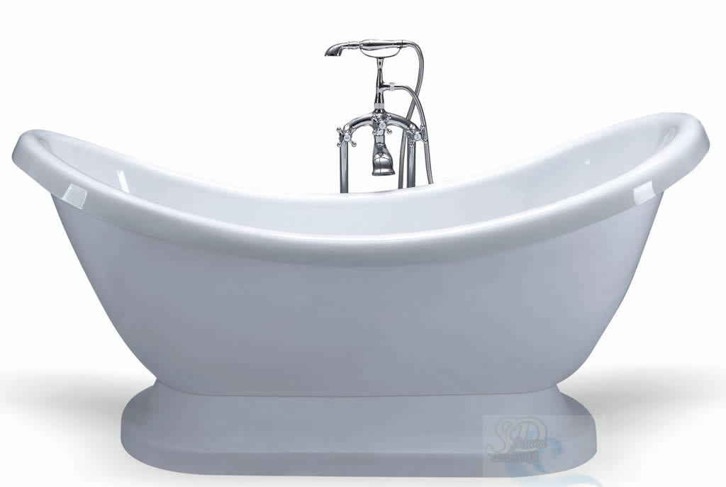 ... Victorian Style Pedestal Soaking Bathtub Tub with High Backs + Faucet