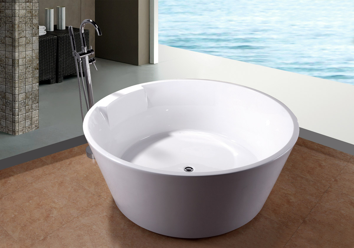 Huge 5 39 soaking soaker bath tub bathtub w floor faucet for Acrylic soaker tub
