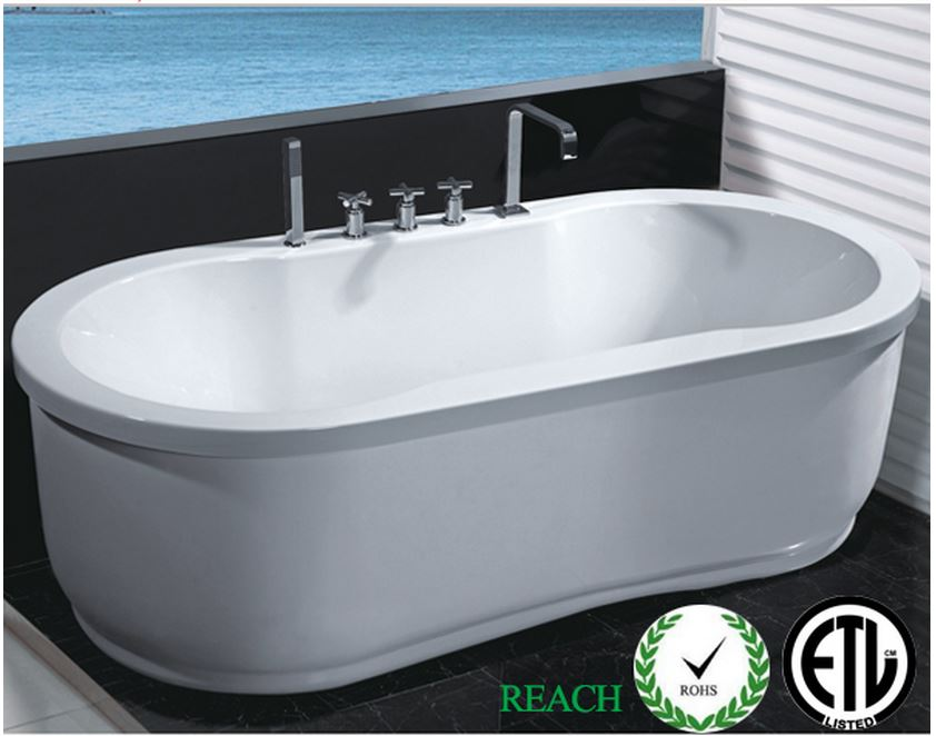 Hydrotherapy Whirlpool Jetted Bathtub Indoor Soaking Hot Bath Tub FREESTANDIN
