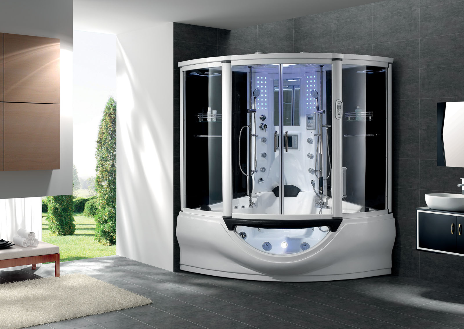 new 2012 computerized massage jacuzzi whirlpool hot tub shower steam sauna spa ebay. Black Bedroom Furniture Sets. Home Design Ideas