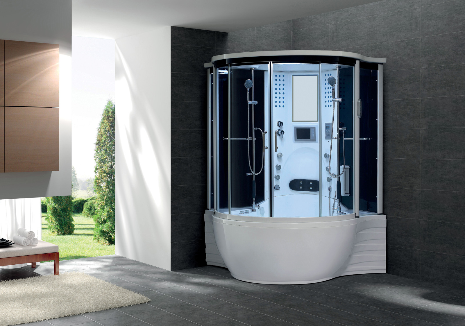 New 2013 model steam shower whirlpool jacuzzi hot tub spa for Salle de bain avec jacuzzi et douche